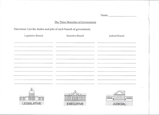 {Lesson 3 Wisconsin Government Social Studies Unit – 3 Branches of Government Worksheets